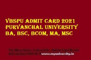 VBSPU Admit Card 2021