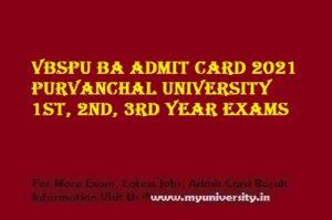 VBSPU BA Admit Card 2021