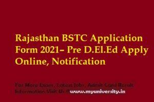 Rajasthan BSTC Application Form 2021