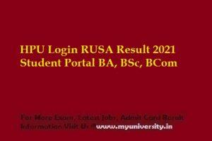 HPU Login RUSA Result 2021