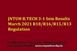 JNTUH B.TECH 3-1 Sem Results March 2021