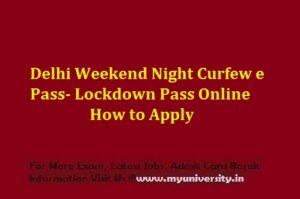 Delhi Weekend Night Curfew e Pass