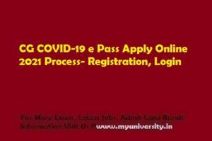 CG COVID 19 e Pass Apply Online 2021