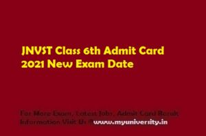 JNVST Class 6th Admit Card 2021 New Exam Date